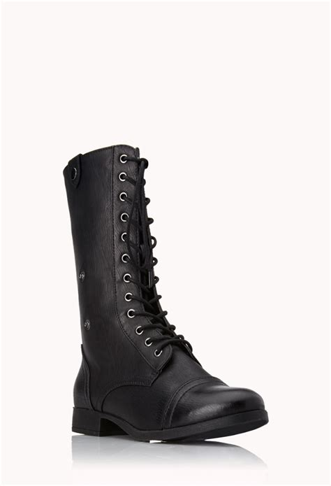 combat boots for forever 21 forever 21 pretty tough combat boots in black lyst