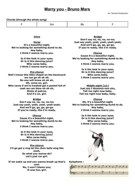 bruno mars marry you antrag marry you bruno mars chords and score for band and