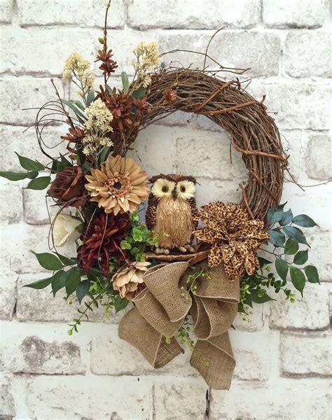 wreaths for doors leopard floral owl wreath front door wreath neutral wreath brown silk floral