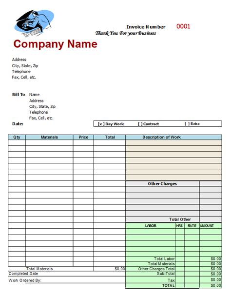 Mechanics Invoice Template free auto repair invoice templates free