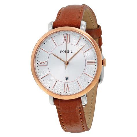 fossil es3842 jacqueline slim white cedar brown leather 36mm s 796483182066 ebay