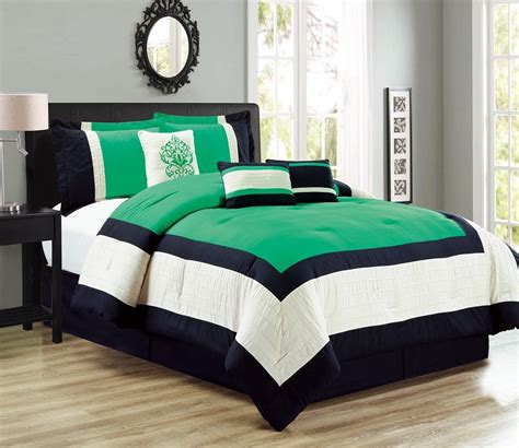 7 piece color block green black ivory comforter set