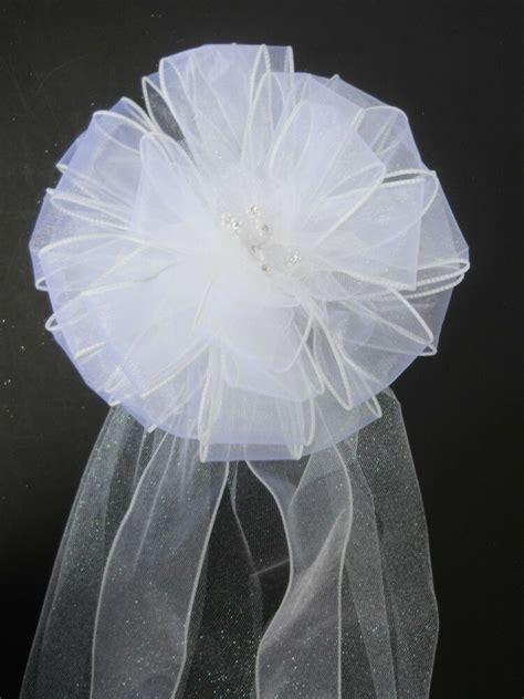 wedding pew bow reception party decoration white ribbon