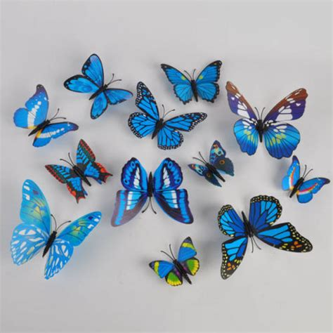blue 12 pcs 3d butterfly מוצר 12 24 pcs 3d butterfly sticker design decal