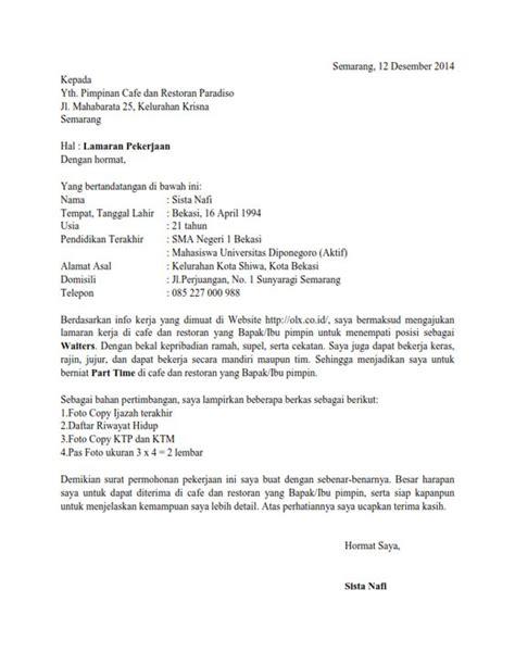 contoh surat lamaran kerja restoran surat lamaran kerja informasi dari teman ben jobs