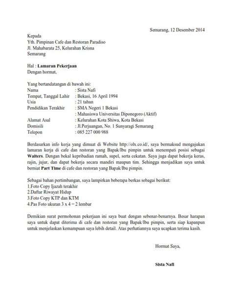 contoh surat lamaran kerja di restoran wisata dan info