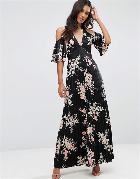 62033 Kartika Maxi 2 In 1 cold shoulder maxi dress in satin floral print by asos
