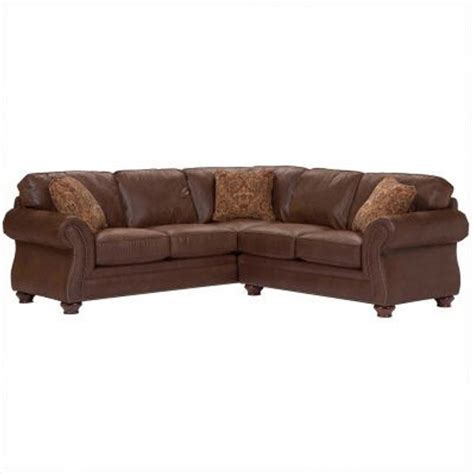 Distressed Leather Sectional Sofa Broyhill Laramie Faux Leather Sectional Sofa In Distressed Brown 5080 4q 5 Traditional