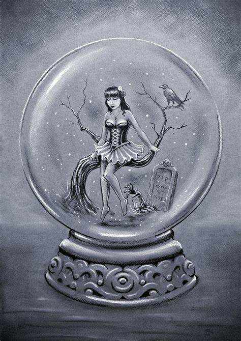 gothic snow globe drawing by frank franklin