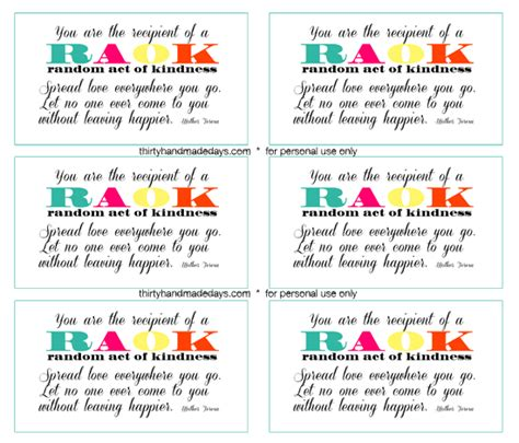 kindness card template random acts of kindess loveforjj