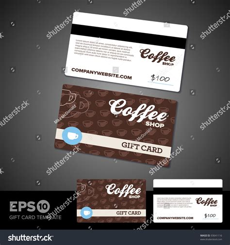 Coffee Shop Cafe Gift Card Template Design Stock Vector Illustration 93641116 Shutterstock Coffee Shop Gift Certificate Template
