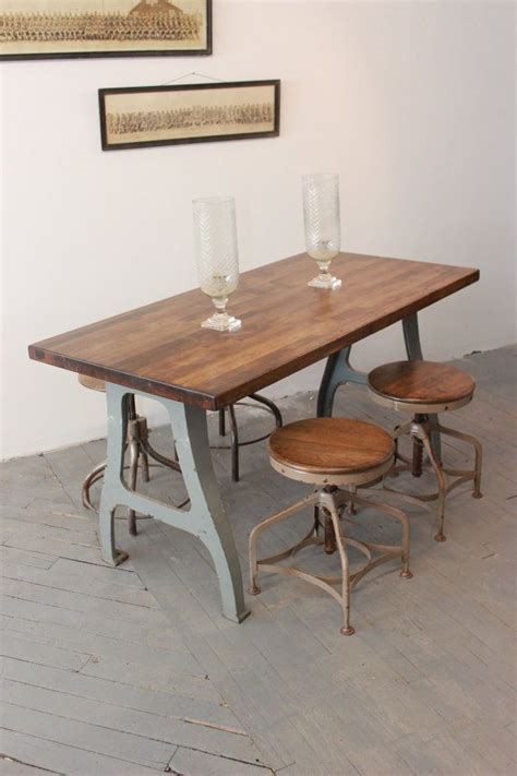 butcher block dining table set vintage industrial antique dining table kitchen island