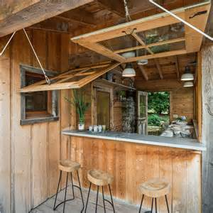 Fold Up Awnings Waterfront Cabin Home Bar Design Hinges On View