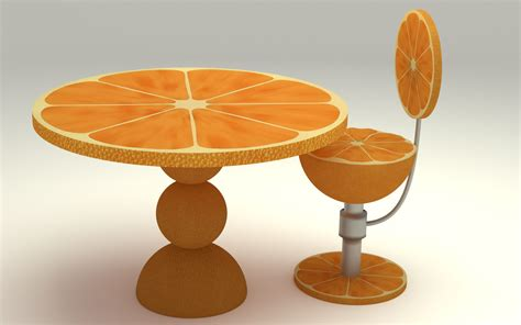 orange kitchen table 3d model max obj fbx c4d ma mb