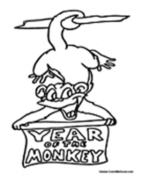 new year of the monkey coloring sheets animal symbol coloring pages