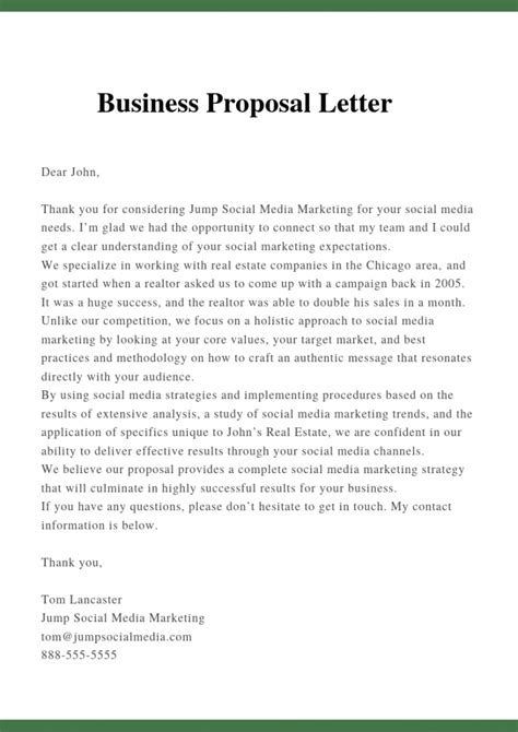 sample proposal letter template business