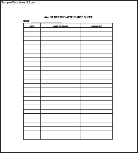 meeting attendance sheet free sle templates