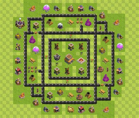 Contoh Rapay by Kumpulan Base Coc Th8 Keren 2017 With Bomb Tower Trik