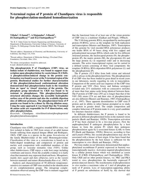 p protein pdf n terminal region of p protein of chandipura virus is