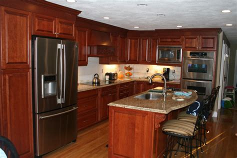 Granite With Cherry Cabinets In Kitchens Sparks Construction Building For Your Future