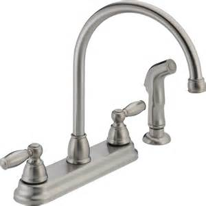 shop peerless stainless high arc kitchen faucet with side spray at lowes com
