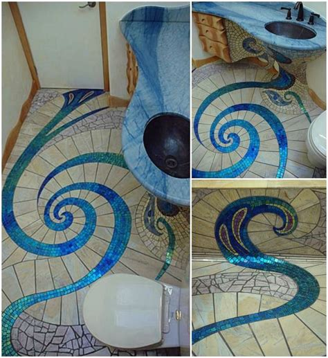 Bathroom Mosaic Design Ideas spiral mosaic tile floor usefuldiy com