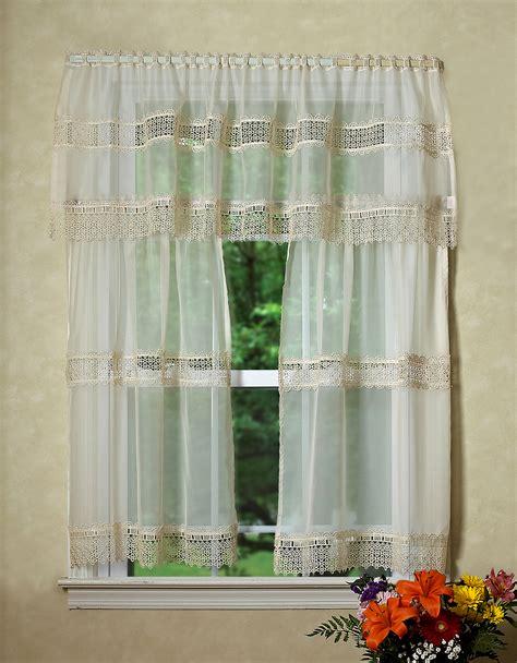 sheer kitchen curtains treasure lace sheer 3pc kitchen curtain set 18 60