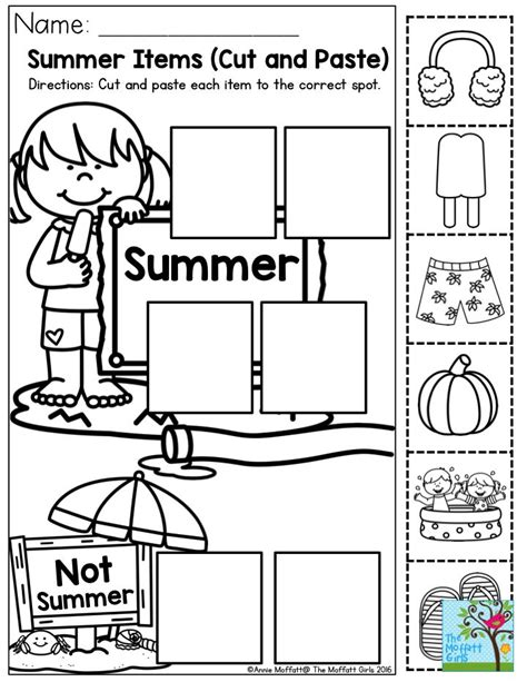 summer cut and paste worksheets summer items cut and paste each item to the correct spot