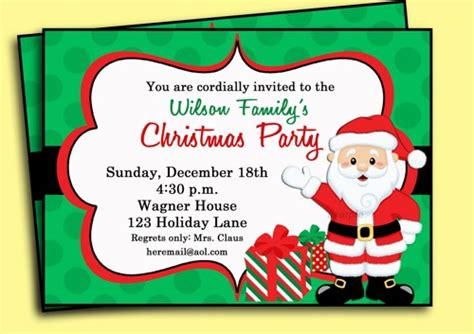santa christmas party invitation printable very merry