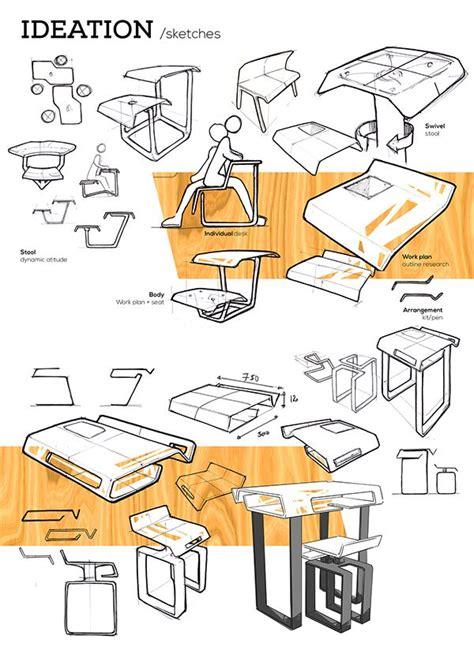 ladari design stool and desk on behance sketch design de produto