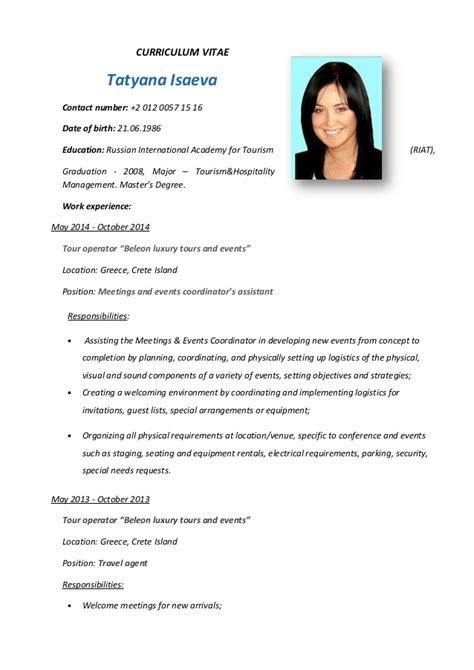 Resume Sample Format For Ojt by Curriculum Vitae
