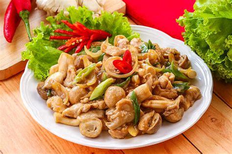 ayam tumis aneka jamur resep  dapur kobe