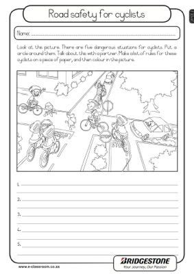 road safety for cyclists lifeskills worksheet grade 2