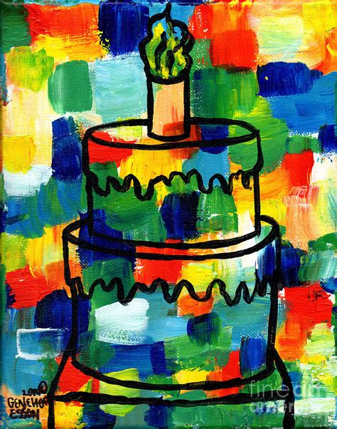 birthday painting stl250 birthday cake abstract painting by genevieve esson