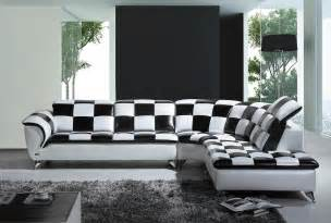 White Modern Sectional Sofa Divani Casa K8478 Modern Black And White Checkered Leather Sectional Sofa