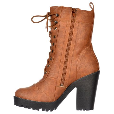 onlineshoe ankle boot lace up with block