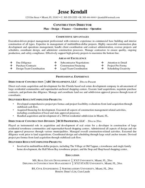 construction superintendent resume sle sles for