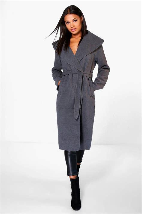 Shawl Collar Coat boohoo womens kate belted shawl collar coat