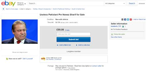 ebay pakistan pakistan pm nawaz sharif for sale on ebay
