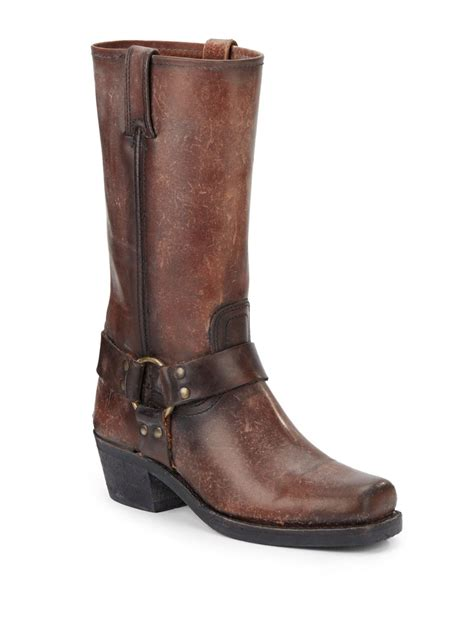 frye harness 12r polished stonewashed leather boots in