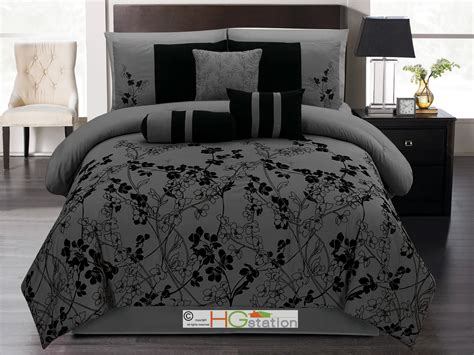 black grey comforter 7 p autumn vine twig floral bloom silhouette comforter set
