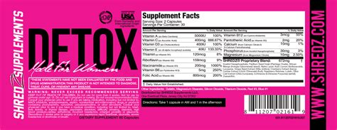Shredz Detox Directions by Supplement Dosage Chart Shredz 174 Supplements
