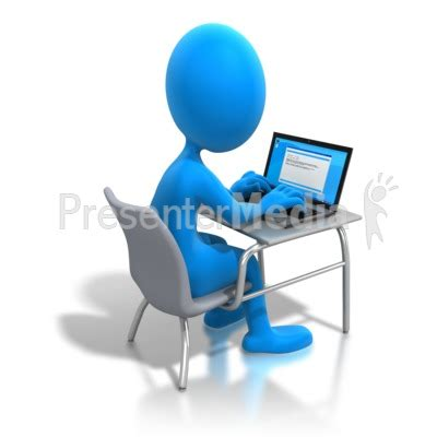 help desk online training stick figure working laptop desk education and