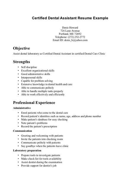 Dental Assistant Resume Skills by Sle Certified Dental Assistant Resume Exles With