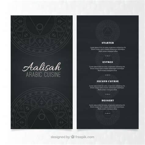 elegant menu template of arabic food vector free download