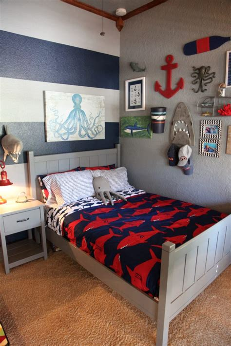 boy room decor shark themed boy s room project nursery