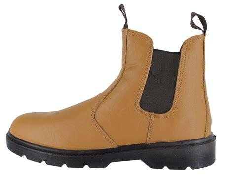 steel toe slip on work boots mens workforce s1p lightweight leather steel toe safety