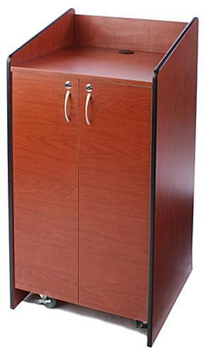 """25"""" Cherry Floor Standing Podium w/ Locking Storage Cabinet"""