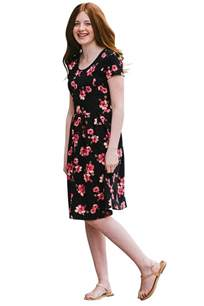 modest young ladies girls dress in black floral print