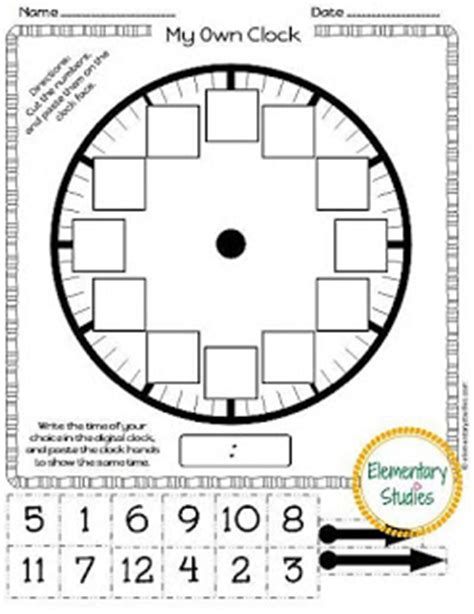 make your own clock template elementary studies telling time to the hour and half hour